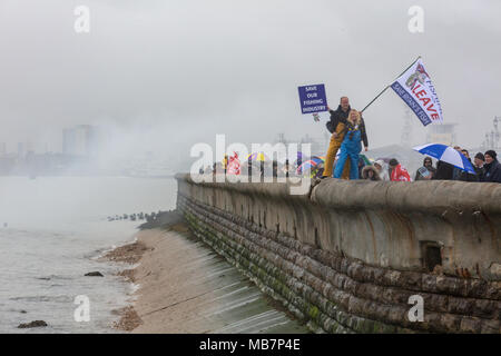 Southsea, Hampshire, UK; 8th April 2018; Fishing Boats During a Protest Against Plans for UK to Remain in the EU Common Fisheries Policy During the Brexit Transition Period Passes Brittany Ferry Normandie Sailing to France Credit: Ian Stewart/Alamy Live News - Stock Photo