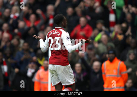 London, UK. 8th Apr, 2018. Danny Welbeck (A) at the Arsenal v Southampton English Premier League game, at The Emirates Stadium, London, on April 8, 2018. **This picture is for EDITORIAL USE ONLY** Credit: Paul Marriott/Alamy Live News - Stock Photo