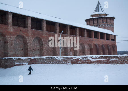 Tower and wall as part of the Kremlin in Kolomna town, Moscow region, Russia - Stock Photo