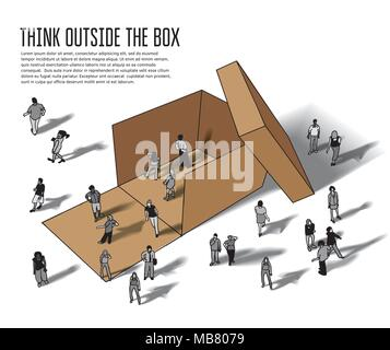 Isometric group business people think outside box grayscale - Stock Photo
