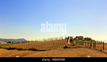 Val d'Orcia with podere and rolling hills covered with cypress trees in - Stock Photo