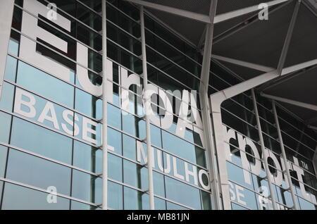 The terminal building of EuroAirport (Basel, Mulhouse, Freiburg), Basel, Switzerland, January 2018 - Stock Photo