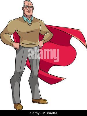 Super Grandpa Illustration - Stock Photo