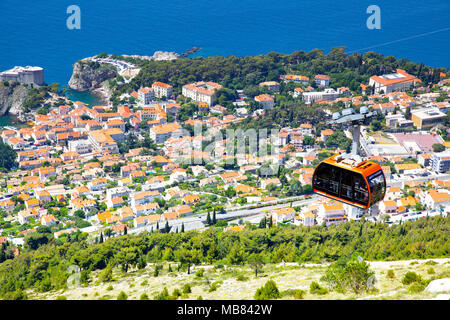 Panoramic view of Dubrovnik from hill, Croatia - Stock Photo