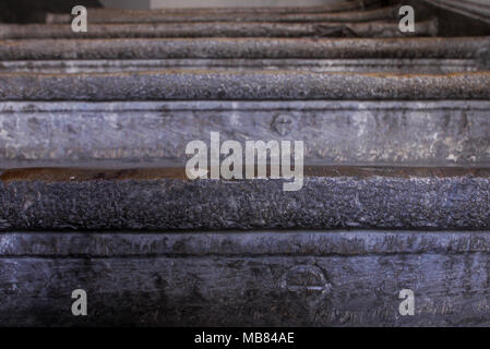 Old stone made Stairs in a classical building, Lyon, France, - Stock Photo