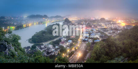 Arial view of Guilin, Li River and Karst mountains Yangshuo and Xingping, Guangxi Province, China - Stock Photo
