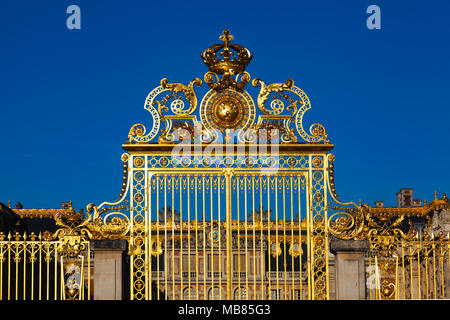 Chateau de Versailles (Palace of Versailles), a UNESCO World Heritage Site, France - The Gate of Honour - Stock Photo