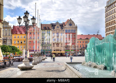 WROCLAW, POLAND - May 08.2014: The fountain of glass plates on the Market Square in the historic center of the city - Stock Photo