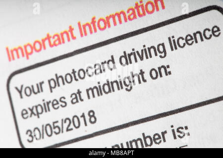 Reminder notice from the DVLA to renew a photocard driving licence. UK - Stock Photo