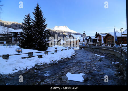 View of the town Lech am Arlberg, Alpine ski resort close to Zurs, St. Anton and Stuben in the Arlberg region of Austria. - Stock Photo