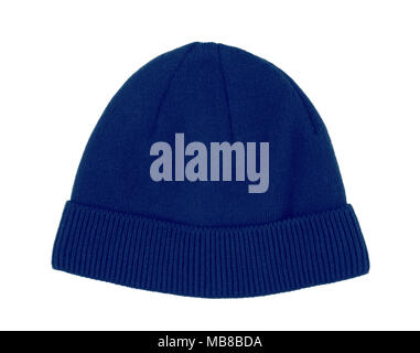 Blue wool beanie hat cap perfect for winter weather isolated on white background - Stock Photo