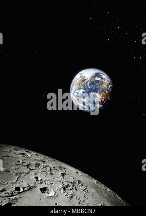 Planet earth from space with surface of the moon in foreground, North America and Europe visible - Stock Photo