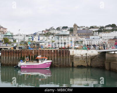 Fishing boat at harbour in Torquay, South West England, UK. - Stock Photo