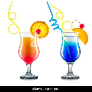 Set of cocktails isolated on white background - Stock Photo