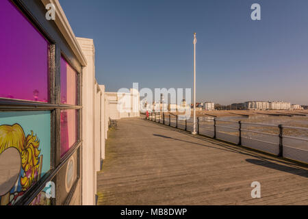 Looking back to Worthing beach from the east side of Worthing Pier, West Sussex, UK. - Stock Photo