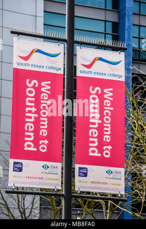 Welcome to Southend banners outside South Essex College, Southend on Sea, Essex, UK - Stock Photo