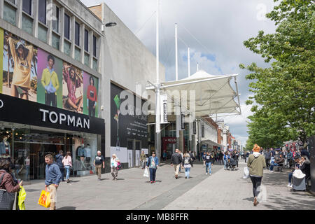 Entrance to WestQuay Shopping Centre, Above Bar Street, Southampton, Hampshire, England, United Kingdom - Stock Photo