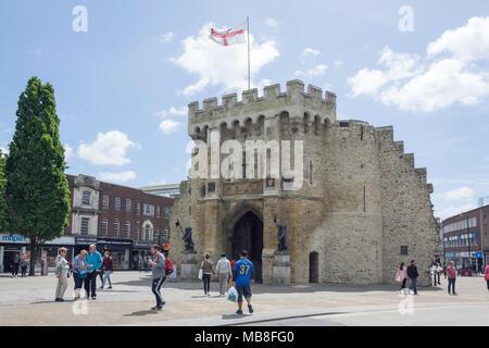 The 12th century Bargate from Above Bargate Street, Old Town, Southampton, Hampshire, England, United Kingdom - Stock Photo