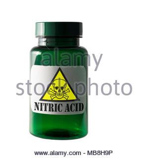 Nitric Acid, Dangerous substance label, Dorset, England, UK - Stock Photo