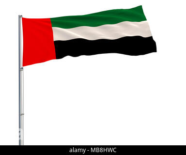 Isolate flag of United Arab Emirates on a flagpole fluttering in the wind on a blue background, 3d rendering - Stock Photo