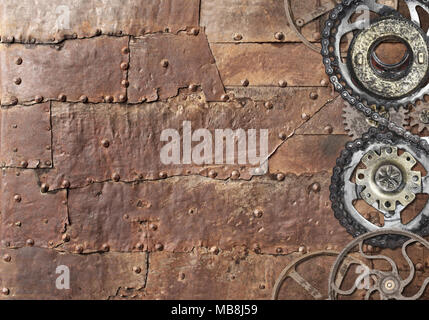 Grunge background with metallic texture and vintage machine gears and cogwheel. Mock up template. Can be used for steampunk and mechanical design - Stock Photo
