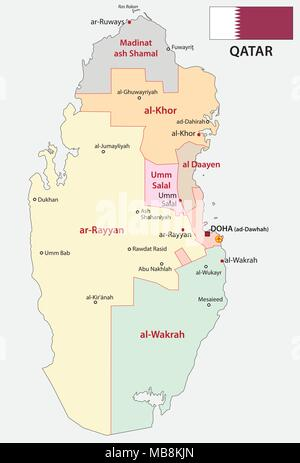 qatar administrative and political map with flag - Stock Photo