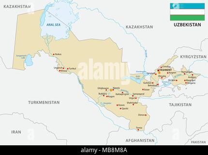 uzbekistan vector with flag map - Stock Photo