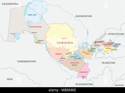 uzbekistan administrative vector map - Stock Photo
