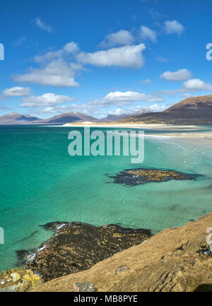 View from Seilebost across to Luskentyre on a low tide. Isle of Harris, Scotland. - Stock Photo