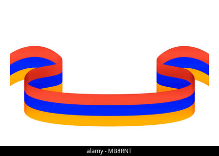Bulk ribbon in three colors of the Armenian flag on a white background with space for inscriptions - Stock Photo