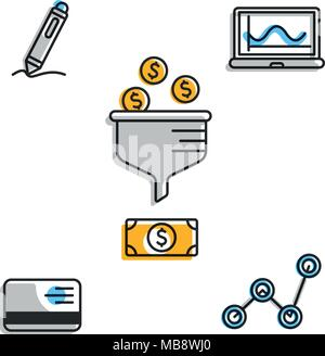 Financial icons for business strategy - Stock Photo