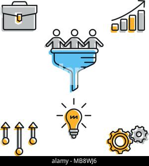 Icons for business team in progress - Stock Photo