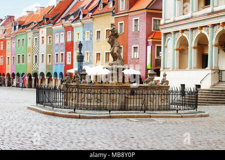 Proserpine Fountain XVIIIc and medieval houses on the central market square in Poznan, PolandPoznan, Poland - Stock Photo
