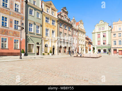 facades of medieval houses on the central market square in Poznan, Poland - Stock Photo