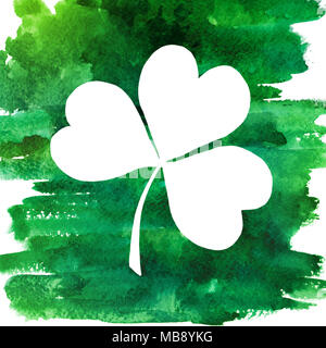 2d hand drawn illustration for St.Patrick's day. Green watercolor splash blot in shape of clover leaf. Isolated on white background. - Stock Photo