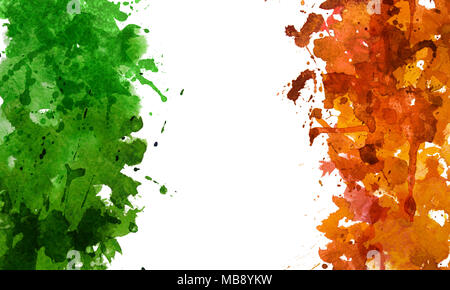 2d hand drawn illustration for St.Patrick's day. Green and orange watercolor splash blot in shape of Ireland's flag. Isolated on white background. - Stock Photo