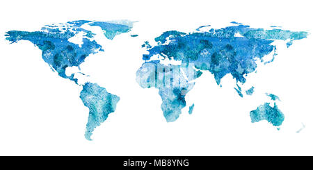 2d hand drawn illustration of world map. Turquoise blue watercolor isolated earth planet. Continents. White background. - Stock Photo