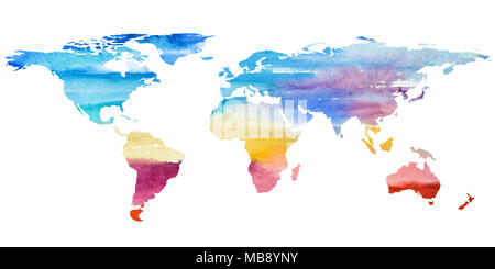 2d hand drawn illustration of world map. Color gradiented watercolor image of isolated earth planet. Colorful continents. White background. - Stock Photo