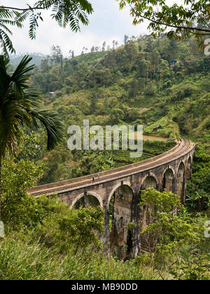 Vertical view of Nine Arches Bridge near Ella, Sri Lanka. - Stock Photo