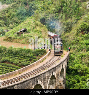 Square view of a train crossing over the Nine Arches Bridge near Ella, Sri Lanka. - Stock Photo