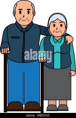 color line elderly couple together with walking stick - Stock Photo