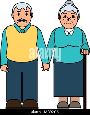 color line old couple together with casual clothes - Stock Photo
