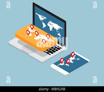 illustration of map and red pin location on laptop and smartphone vector isometric - Stock Photo