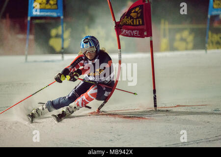20 December 2017 Alex Tilley of Scotland Great Britain Competing in the Parallel Slalom of Courchevel Ladies Ski World Cup 2017 - Stock Photo