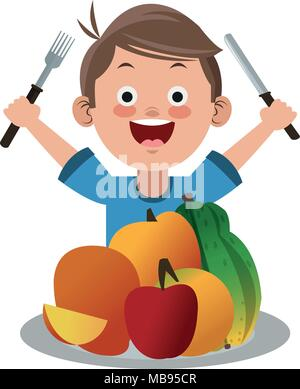 Cute Boy Eating Healthy Food Stock Vector Image Art Alamy