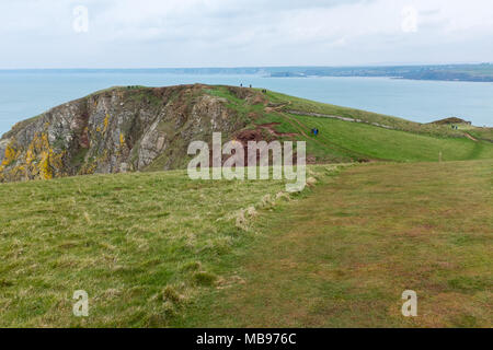The South West Coastal Path on Bolt Tail near Hope Cove in the South Hams area of Devon - Stock Photo