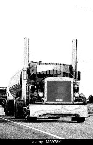 American classic semi tanker on the road, drawing. - Stock Photo