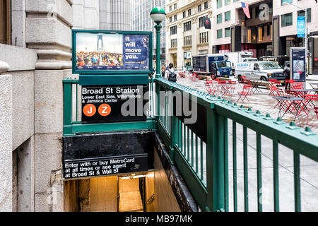New York City, USA - October 30, 2017: Wall street broad st subway exit, entrance in NYC Manhattan lower financial district downtown - Stock Photo