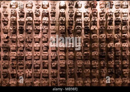 Aztec Human Skull Sculptures in Museum 'del Templo Mayor', Mexico City (Tzompantli) - Stock Photo