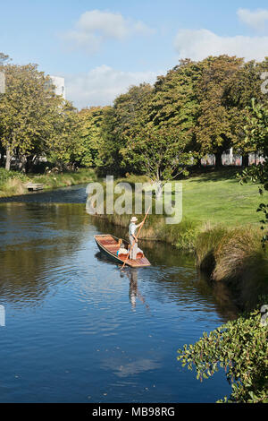 Punting on the Avon River, Christchurch, New Zealand - Stock Photo